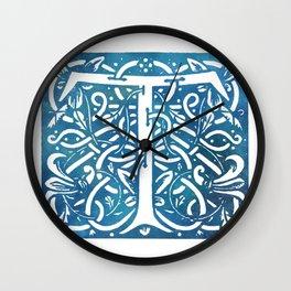 Letter T Elegant Vintage Floral Letterpress Monogram Wall Clock
