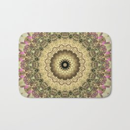 Vintage Gold Pink Mandala Design Bath Mat
