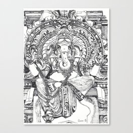 Genish black and white line drawing Canvas Print