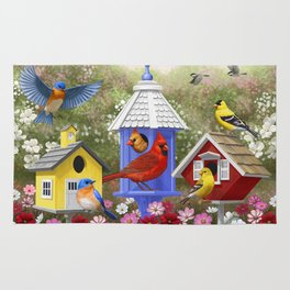 Birds and Colorful Bird Houses Rug