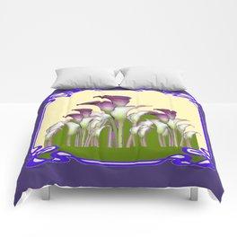 ART NOUVEAU CALLA LILIES PURPLE MODERN ART DESIGN Comforters