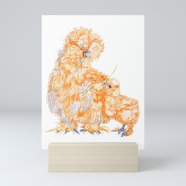 Silkie Chickens - Daisy Mini Art Print