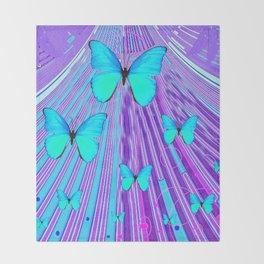 MIGRATING NEON BLUE BUTTERFLIES & PURPLE  ART Throw Blanket