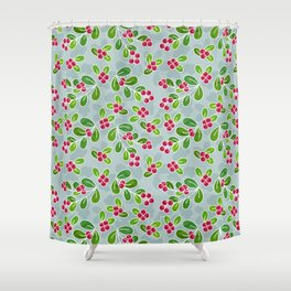 Cranberry Fruit Pattern On Blue Grey Shower Curtain