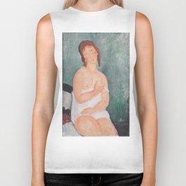 Young Woman in a Shirt by Amedeo Modigliani Biker Tank