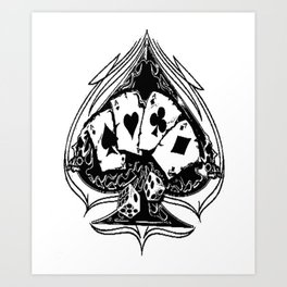 Ace of spades, custom gift design Art Print