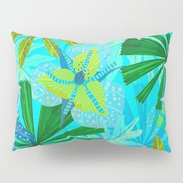 My blue abstract Aloha Tropical Jungle Garden Pillow Sham