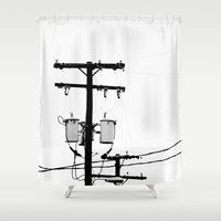 telephone Shower Curtains featuring Telephone Line by PoseManikin