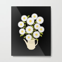 bouquet of camomiles in the vase on the black Metal Print