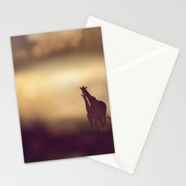 Landscape with Two Giraffes at sunset Stationery Cards