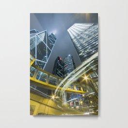 Hong Kong Night City Metal Print