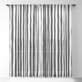 Op-Art Black and White Tribal Wiggle Stripe Sheer Curtain
