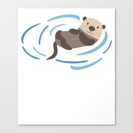 Sea Otter In Water Cute Lutra Animal Lover Funny Otter Cool Pun Gift Design Canvas Print