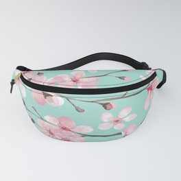 Cherry blossom mint green and pink Fanny Pack