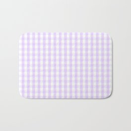 Chalky Pale Lilac Pastel and White Gingham Check Plaid Bath Mat