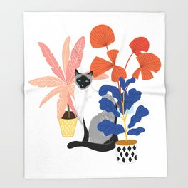 siamese cat and plants Throw Blanket