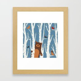 Bear and Birches Framed Art Print
