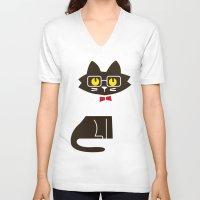 preppy V-neck T-shirts featuring Fitz - Preppy cat by Picomodi