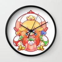 princess peach Wall Clocks featuring Princess Peach Badge by Tiffa Cakes