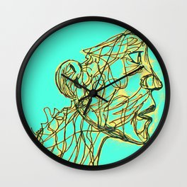 Face Full Of Lines BLUE Wall Clock
