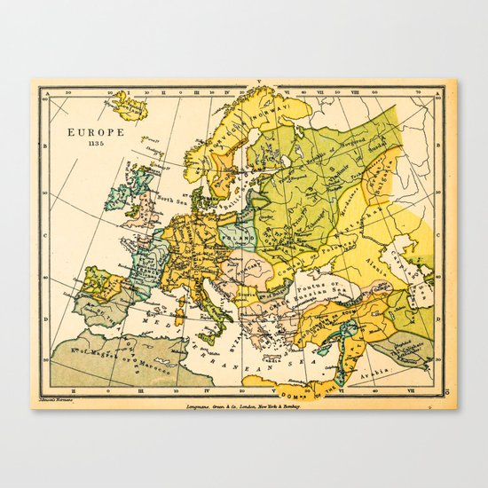 Europe in 1135 - Vintage Map Collection Canvas Print