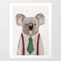 koala Art Prints featuring Koala by Animal Crew