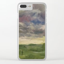 Oil Painting On Canvas Landscape Artwork Gloomy Sky Modern Room Wall Art Home Living Clear iPhone Case