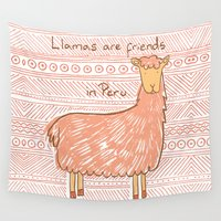 peru Wall Tapestries featuring Llamas are Friends in Peru by Pigeon