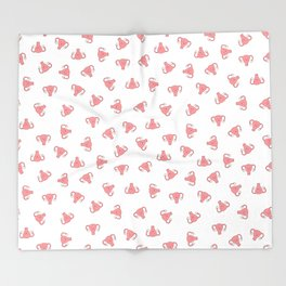 Crazy Happy Uterus in White, small repeat Throw Blanket