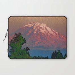 Snow-capped Mount Rainier at Dusk Painterly Photo Illustration Laptop Sleeve