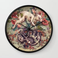 bunny Wall Clocks featuring Dust Bunny by Kate O'Hara Illustration