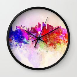 Doha skyline in watercolor background Wall Clock