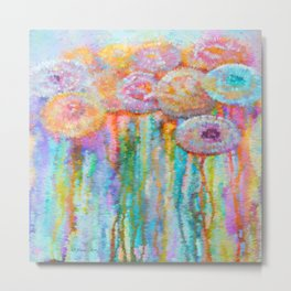 Colorful Flowers Abstract Metal Print