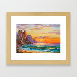 Sunset on the rocky shore Framed Art Print