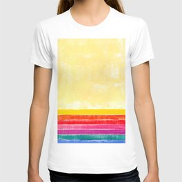 Abstract rainbow pattern in acrylic T-shirt