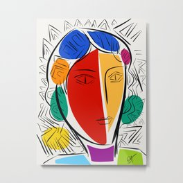 Pop-art Portrait Red and Yellow Metal Print