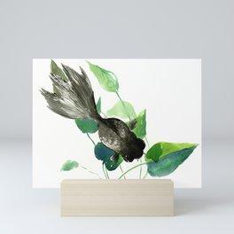 Black Moor Aquarium Fish, Elegant black and green design aquatic black fish Mini Art Print