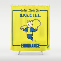 fallout Shower Curtains featuring Endurance S.P.E.C.I.A.L. Fallout 4 by sgrunfo