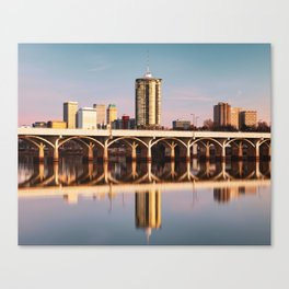 Tulsa Skyline and 21st Street Bridge Morning Reflections Canvas Print