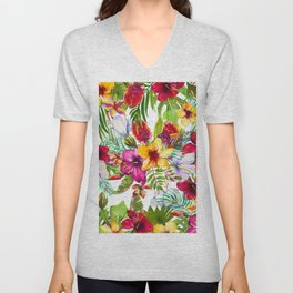 Pink red yellow tropical hand painted watercolor floral Unisex V-Neck