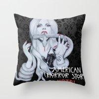 ahs Throw Pillows featuring AHS: Hotel  by Diego Guzman