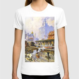 Elevated Subway at Chatham Square New York City landscape painting by Colin Campbell Cooper  T-shirt