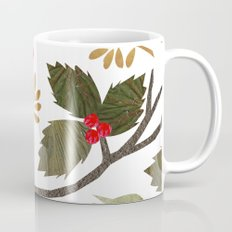 Birds and Holly in Greens, Golds and Red Coffee Mug