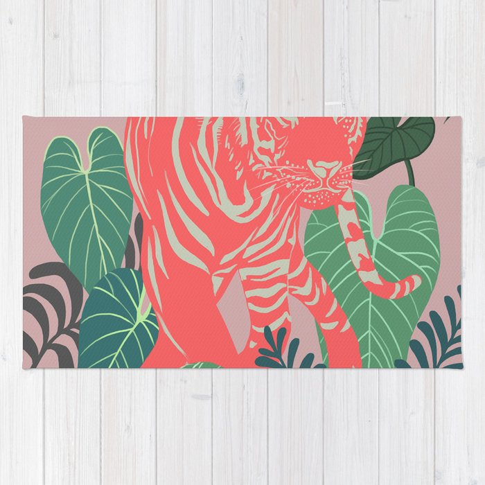 Aloha Tiger, Tiger Print, Animal Print, Jungle Print Rug
