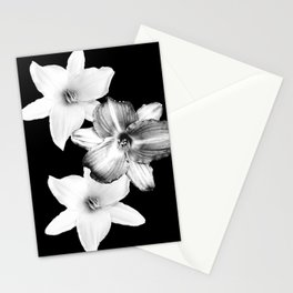 White Lilies on Black #1 #floral #decor #art #society6 Stationery Cards