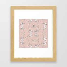 Acorns and ladybugs pink pattern Framed Art Print