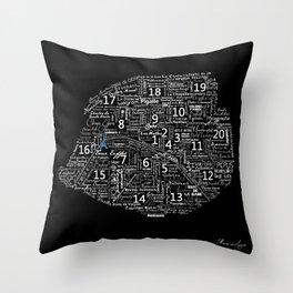Typographic Map of Paris Throw Pillow