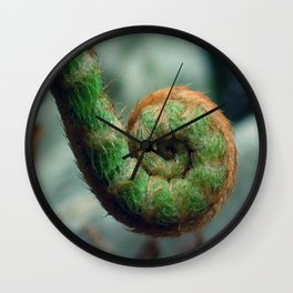 Fern frond spiral fiddlehead Wall Clock