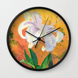 White Lily Floral Watercolor Portrait - Rose Gold Background Wall Clock