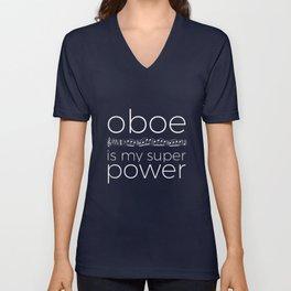 Oboe is my super power (black) Unisex V-Neck